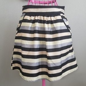 NWT Light Dark Striped Skirt With Pockets